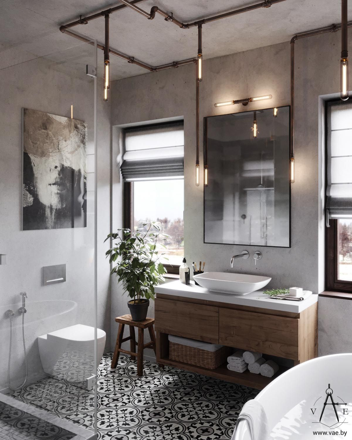 Warm Industrial Style House (With Layout) | Bathroom ...