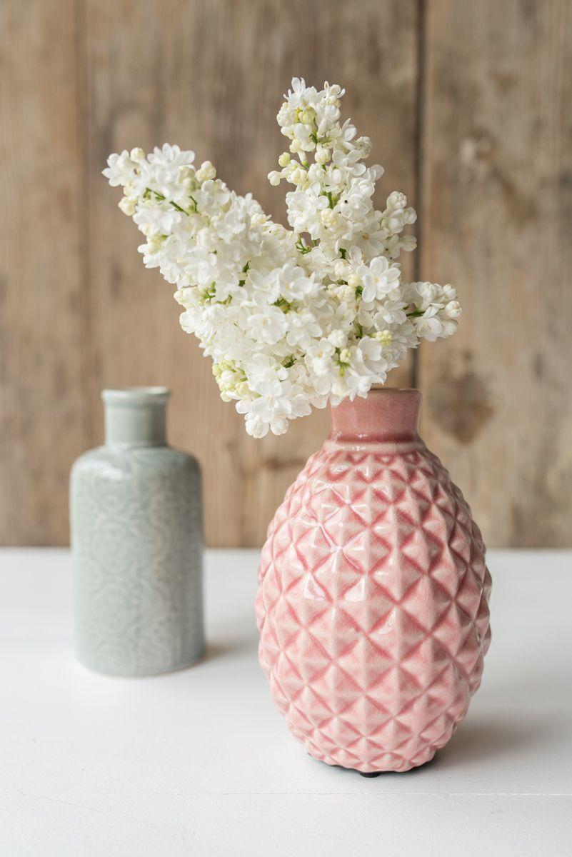 Deko wohnzimmer vasen  Vasen Set in Grau und Rosa aus Keramik im Plissee Look als Deko ...