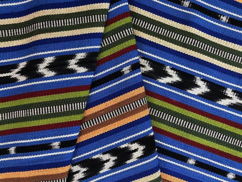 Vintage Guatemalan Fabric Cort\u00e9s Cotton Ikat Dyed Mayan textile fabric yardage