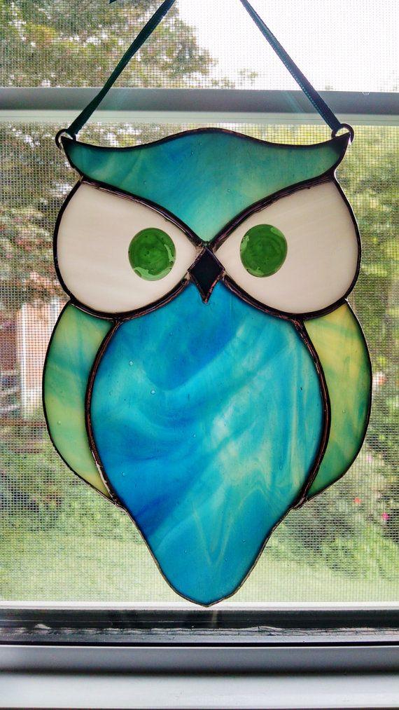 Stained Glass Owl Suncatcher Bird Ornament Window