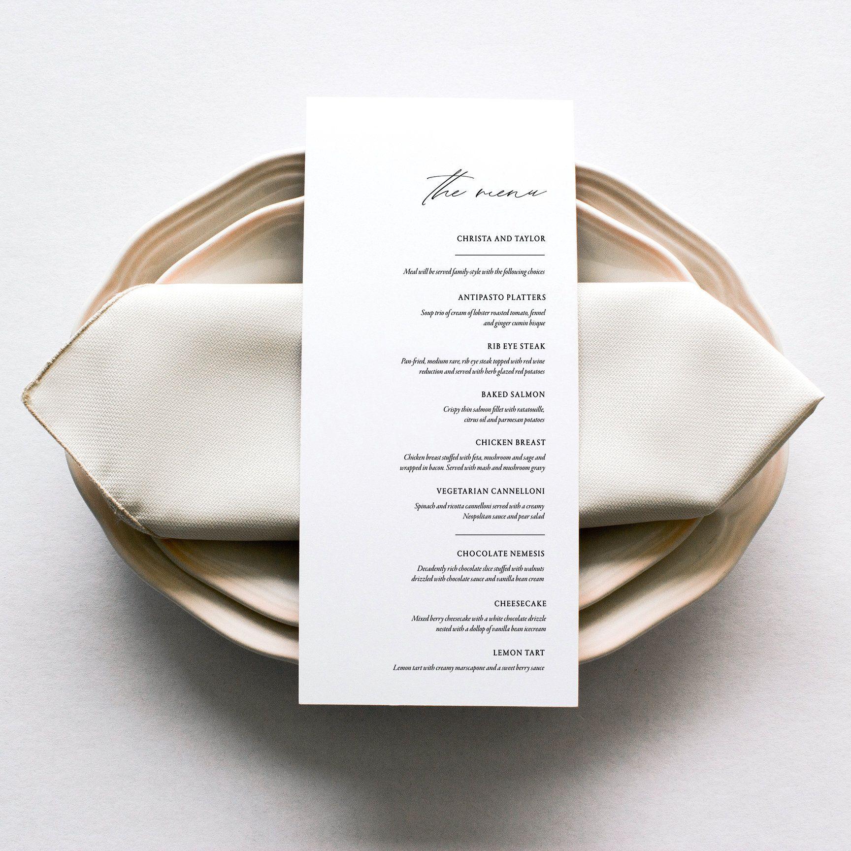 Classical Menu Black And White Custom Event Menu Food