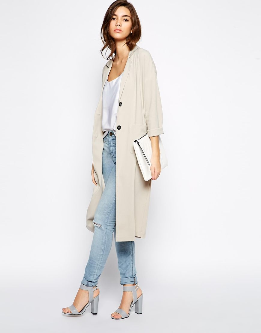 Image 4 of ASOS PETITE Exclusive Long Line Duster Jacket | Style ...
