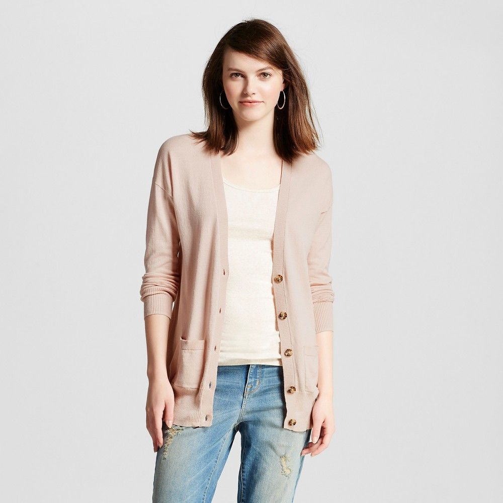 Women's Boyfriend Cardigan Sweater Oxford Blue L - Mossimo Supply ...