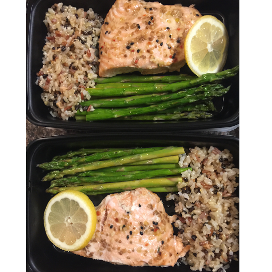 Salmon, Whole-grains, and Asparagus