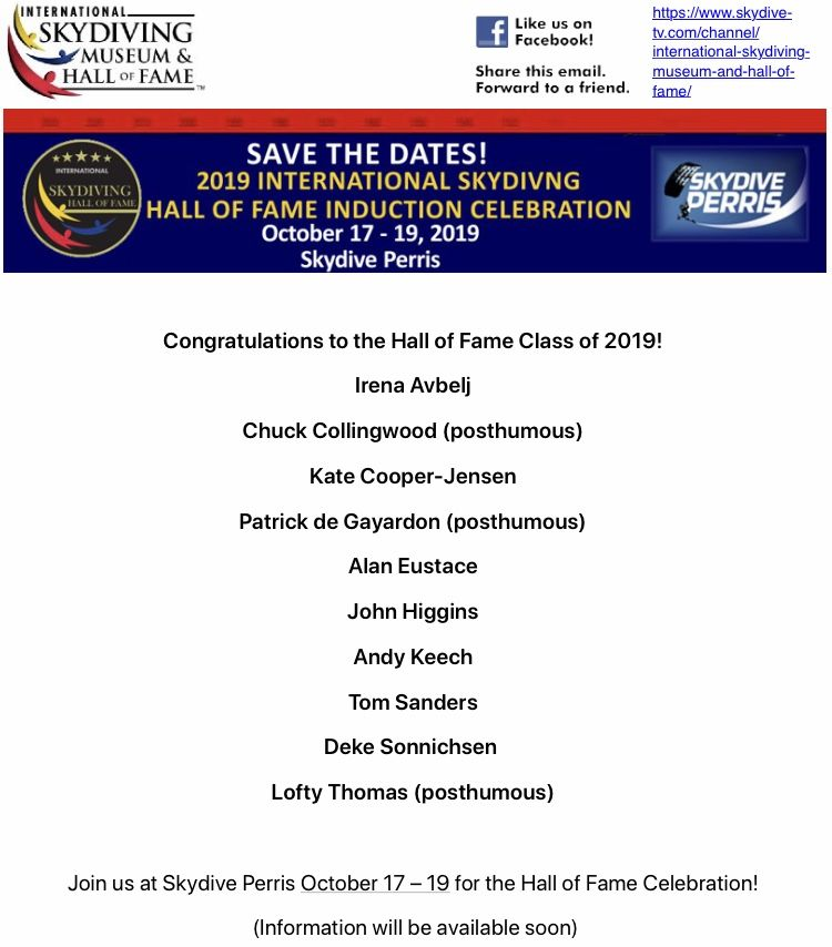 Congratulations To The International Skydiving Museum Hall Of