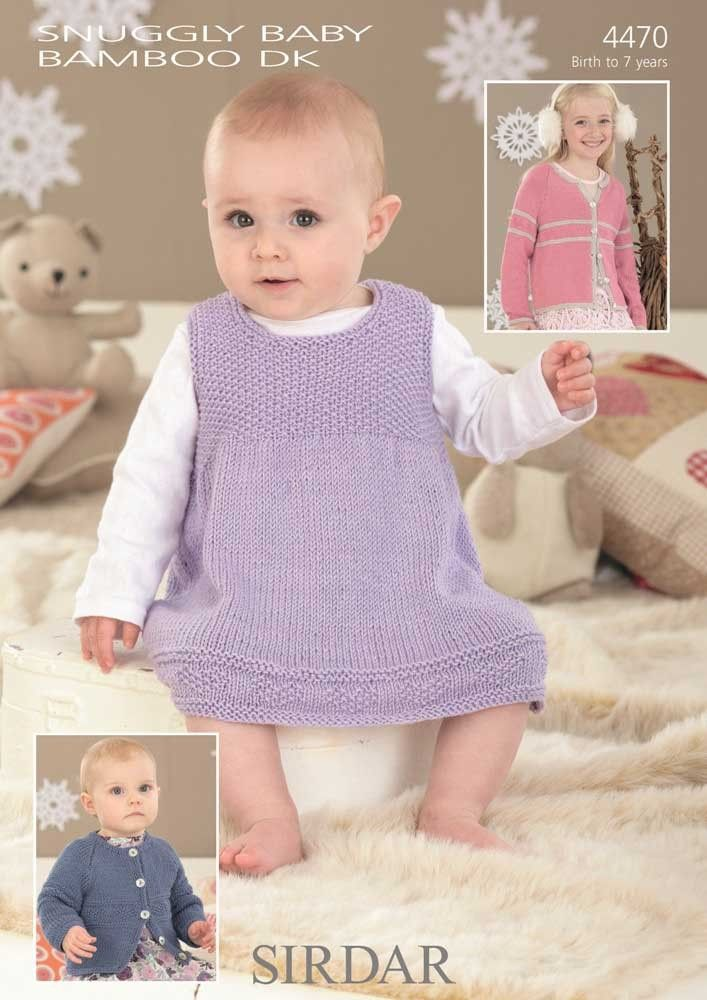 Childrens Pinafore And Cardigans Knitted In Sirdar Snuggly Baby