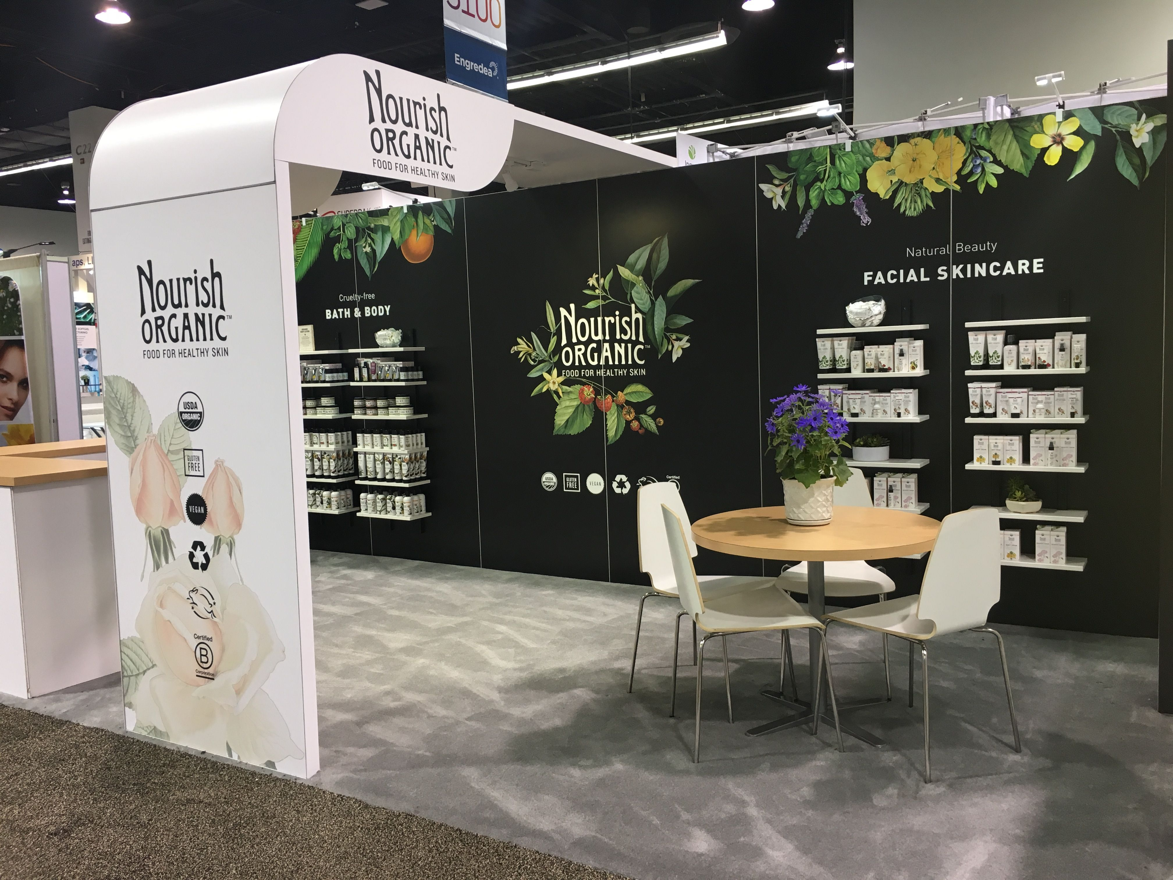 572e81607de9 The 10x20 rental trade show exhibit for Nourish Organics at the Natural  Product Expo West show displayed beautiful graphics and an open booth flow  fit for ...