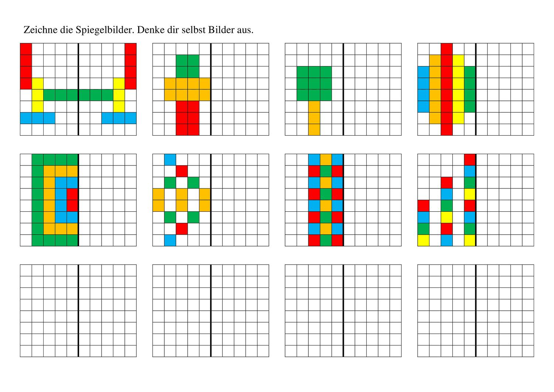 Arbeitsblatt Symmetrie Spiegelbilder Zeichnen Bunt Unterrichtsmaterial Im Fach Mathematik In 2020 Spiegelbild Zeichnen Spiegel
