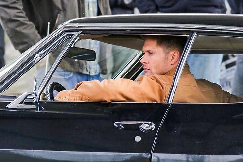 Jensen on set, Mar. 24, 2014