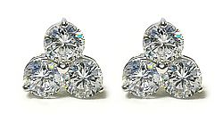 This neo-classic is a huge hit with designers, and with Mystique too! Each earring features three round cubic zirconia stone set in a triangle design and with shared prongs. Very elegant new style! These earrings come with a pair of our standard earring backs. Available in 14K white gold or 14K yellow gold. Model 5313R