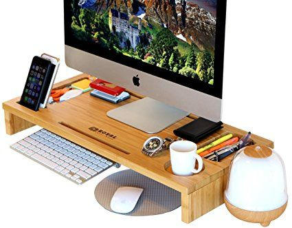 Royal Craft Wood Monitor Stand Riser With Storage Organizer Bamboo Price 59 99 Sale 29 97 Monitor Stand Portable Computer Desk Desk Organization