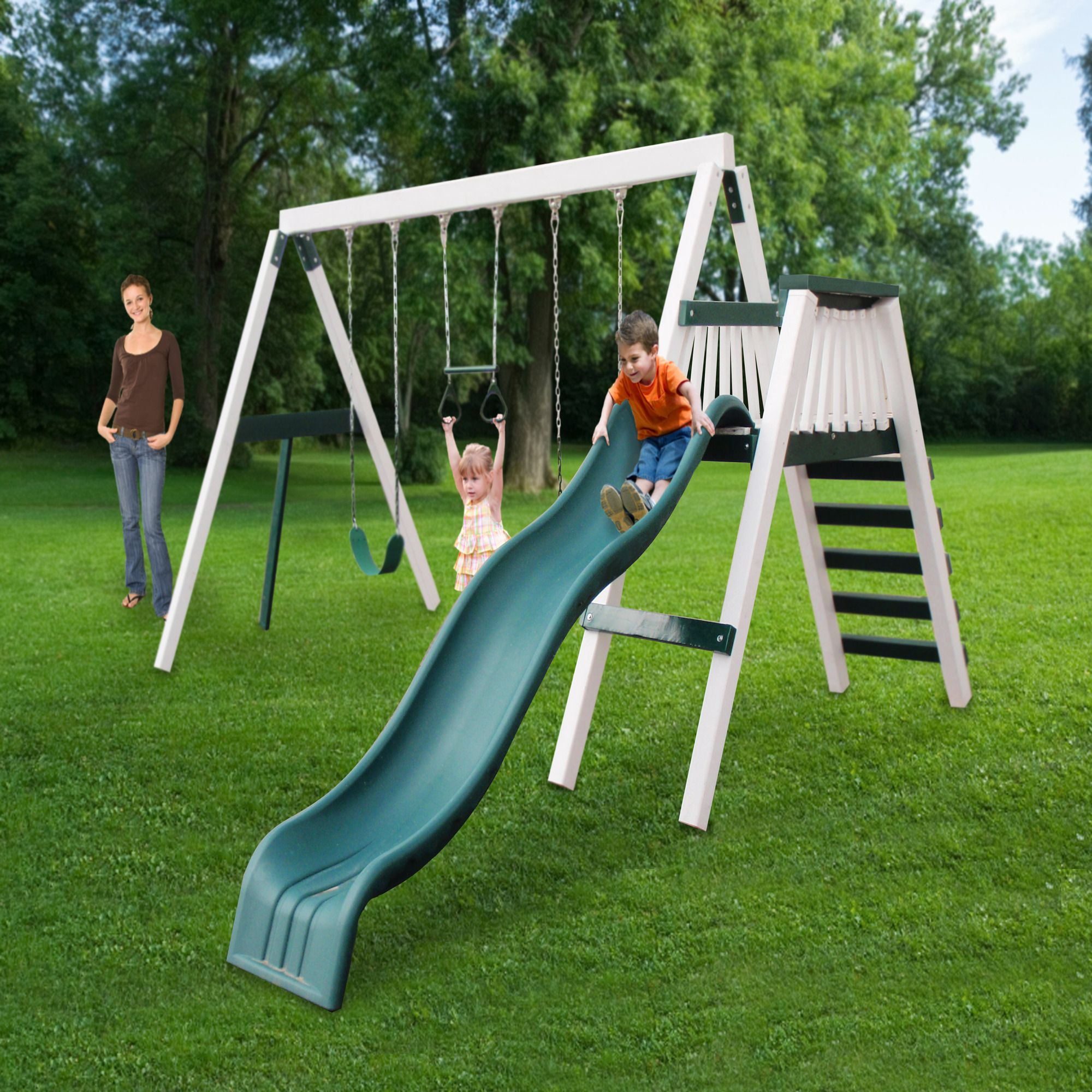 features includes top swing beam with one trapeze bar swing