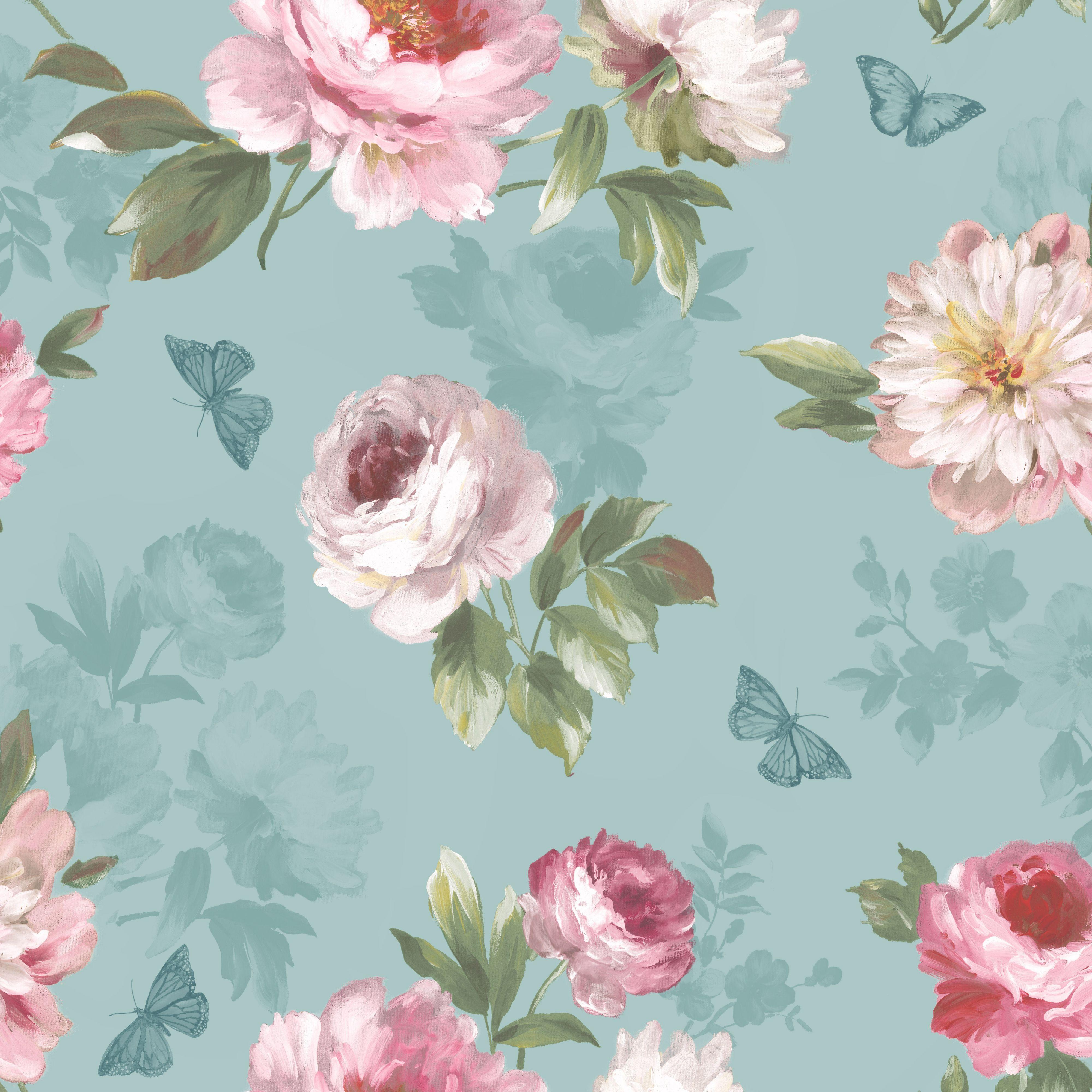 Colours Nina Duck Egg Pink Floral Butterflies Mica Wallpaper