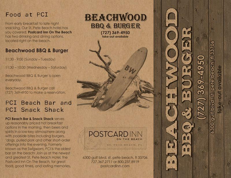 Outside cover for a trifold Take Out Menu for Beachwood