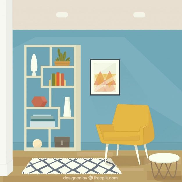 Download House Interior With Armchair And Shelves For Free