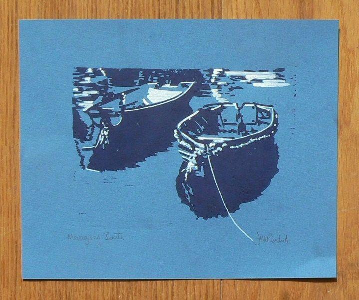 Mevagissey Boats Lino cut print. via Etsy.