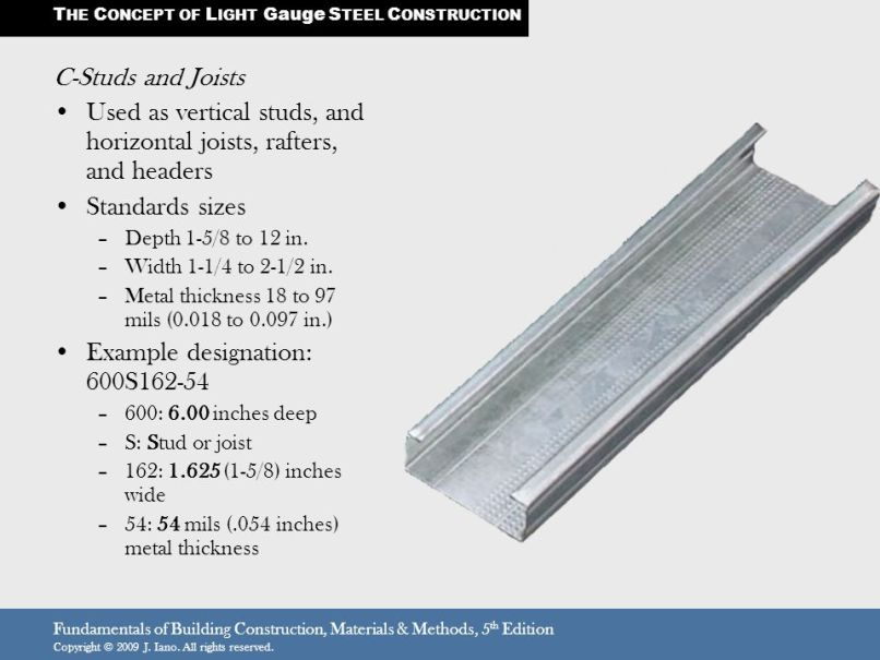 Light Gauge Steel Framing Stud Sizes Steel Frame Steel Framing Construction