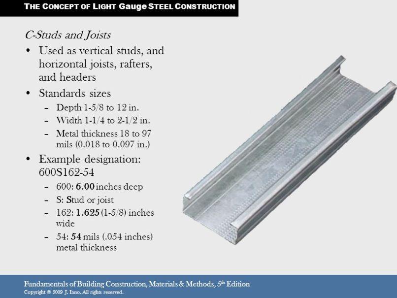 Light Gauge Steel Framing Stud Sizes Steel Frame Steel Framing Construction