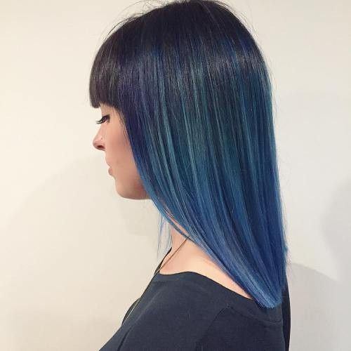 10 Intriguing Blue Hairstyles And Color Ideas 2020 Balayage Straight Hair Dark Blue Hair Hair Color Blue