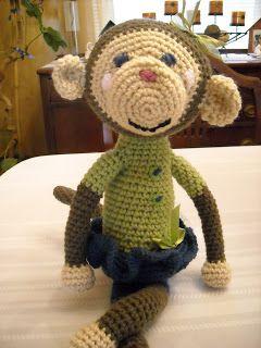 Cute Crocheted Monkey Pattern on www.CherishedHandmadeTreasures.com
