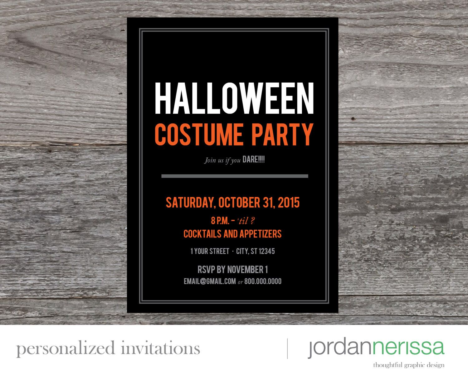 Print yourself / evite black and orange Halloween party invitation ...