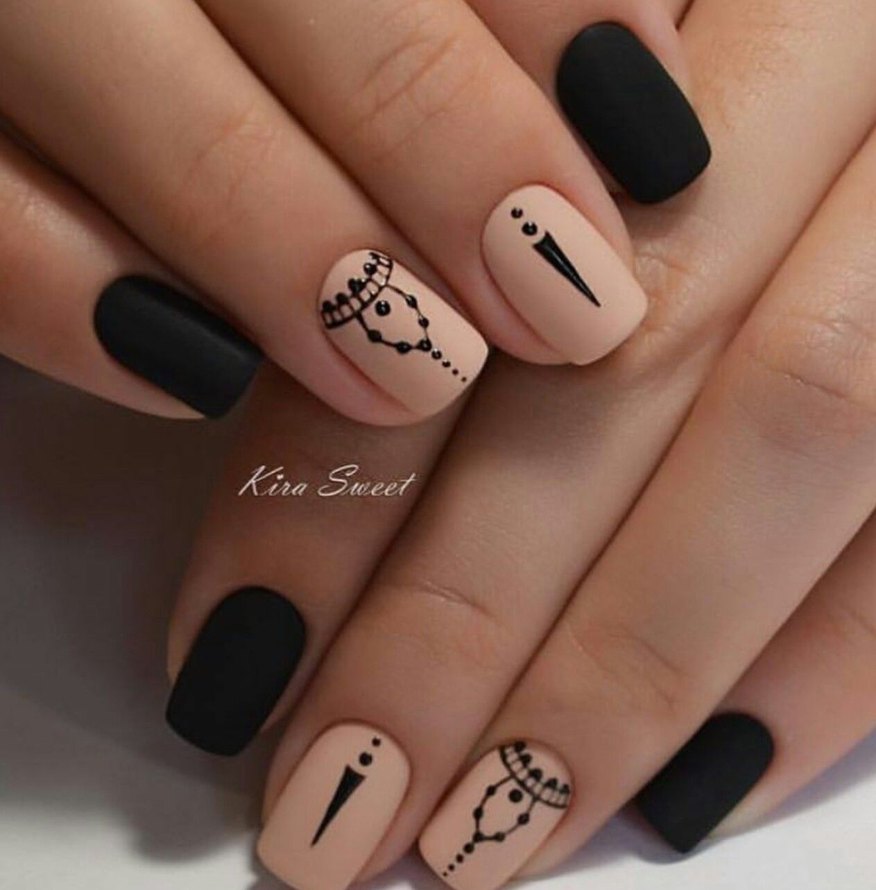 Pin by maggie stewart on nail art pinterest manicure nail gorgeous combination of black and nude shades nail art prinsesfo Images