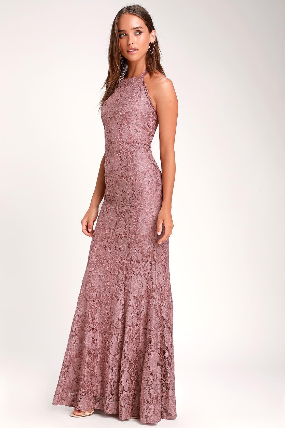 Every Memory Mauve Lace Halter Maxi Dress Maxi Dress Halter Maxi Dresses Dresses