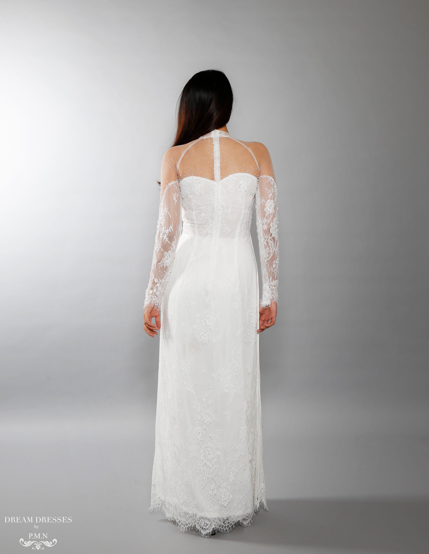 White Ao Dai   Vietnamese Lace Bridal Dress (#ISABELLE)