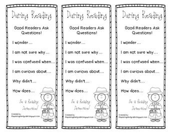 Asking Questions During Reading Bookmark | Teaching Tips ...