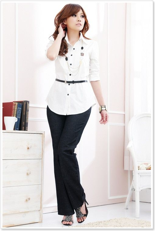 Korean Office Lady Blouse Fashion Clothing