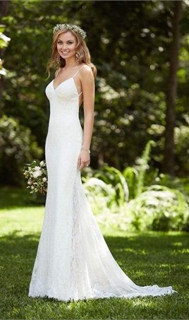 Amazing Charming Sheath Wedding Gown Backless Lace Dresses Sexy Mermaid V Neck