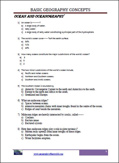 34+ Geography worksheets pdf Online
