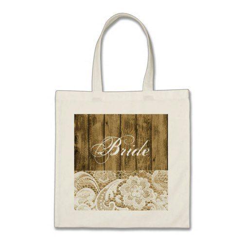 Rustic wood grain lace country bride tote bag