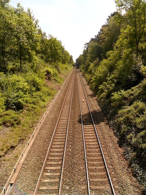 Railway lines into the distance, Sutton Coldfield, West Midlands - I used to take the train from Erdington to Sutton Coldfield for College every day