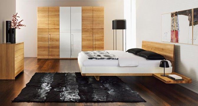 riletto Bett von TEAM 7 aus Nussbaum-Holz. Kopfhaupt in Leder oder ...