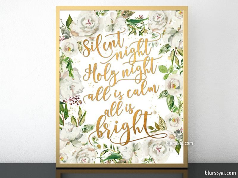 Silent night lyrics printable Christmas decor, in gold and white florals   Christmas wall decor ...
