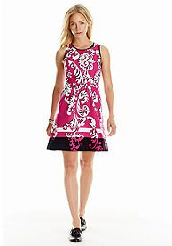 crown & ivy™ Sleeveless Printed Fit-And-Flare Dress