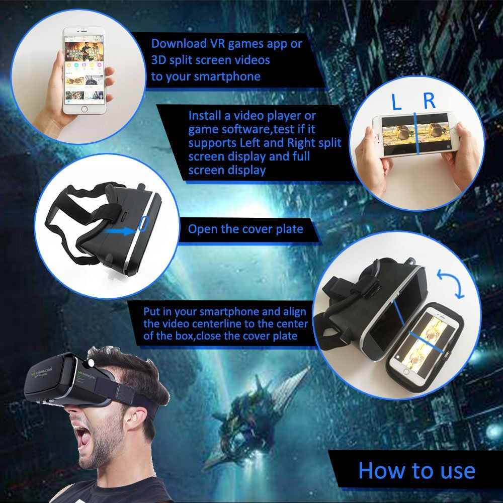 Sovawin VR Headset 3D Glasses Virtual Reality Helmet Box