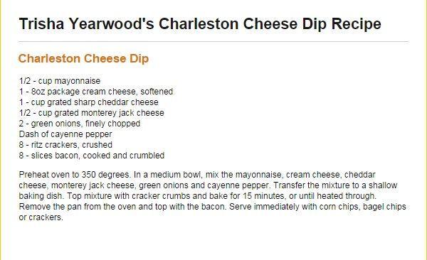 Trisha Yearwood Charleston Cheese Dip #charlestoncheesedips Trisha Yearwood Charleston Cheese Dip #charlestoncheesedips
