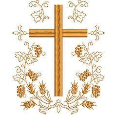 CRUZ COM TRIGOS E UVAS 15 CM