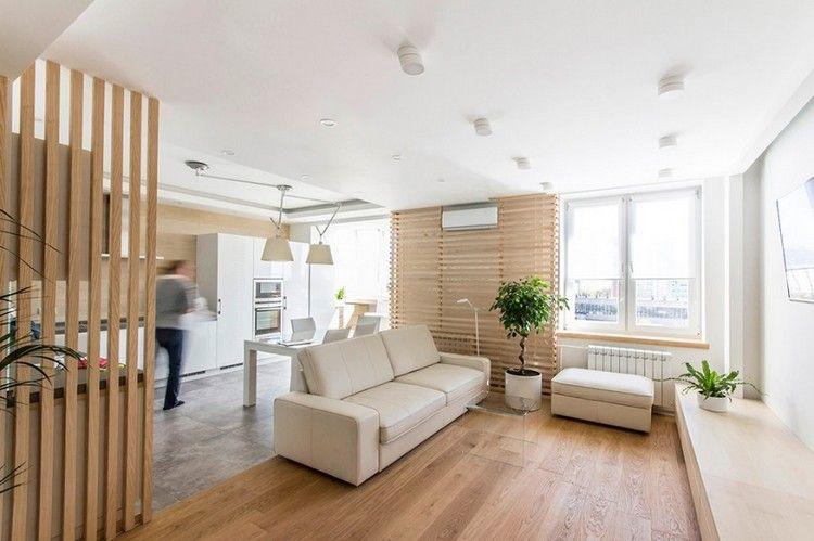 Design-Wohnzimmer-Offene-Wohnkueche-Weiss-Creme-Holz | Wohnideen