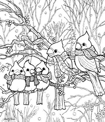 Birds In Winter Snow | Coloring Pages | Bird coloring pages ...