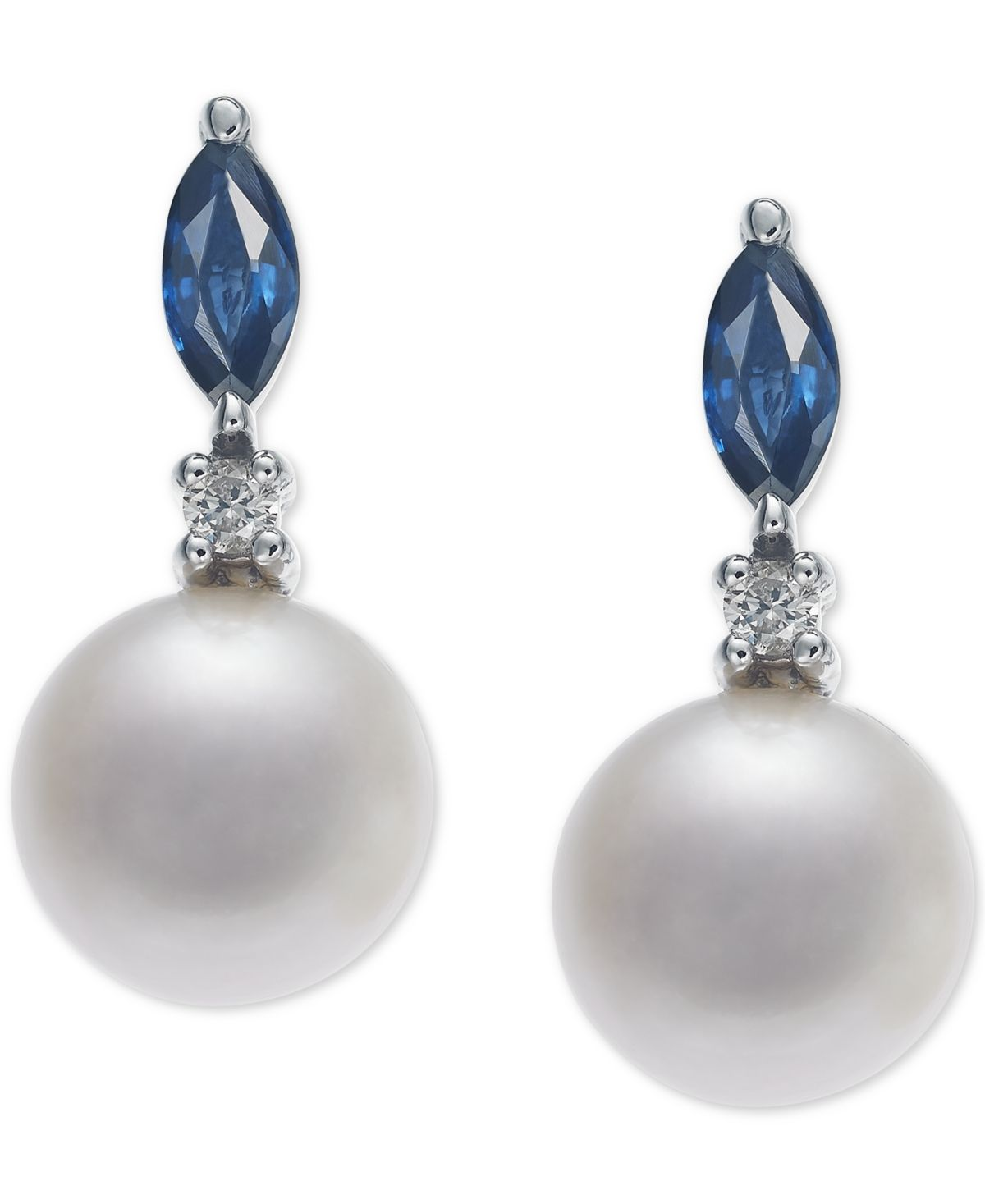 Macy S Cultured Freshwater Pearl 7mm Sapphire 1 2 Ct T W Diamond Accent Drop Earrings In 14k White Gold Reviews Earrings Jewelry Watches Macy Rose Gold Earrings