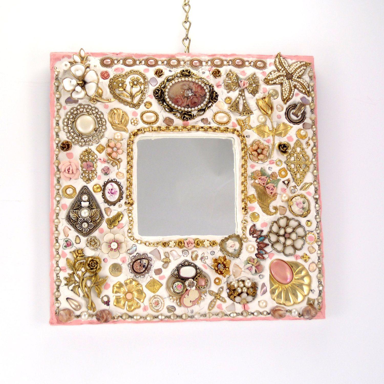 Romantic Jeweled Mosaic Mirror Pink and White Handmade. 130.00 USD, via Etsy.