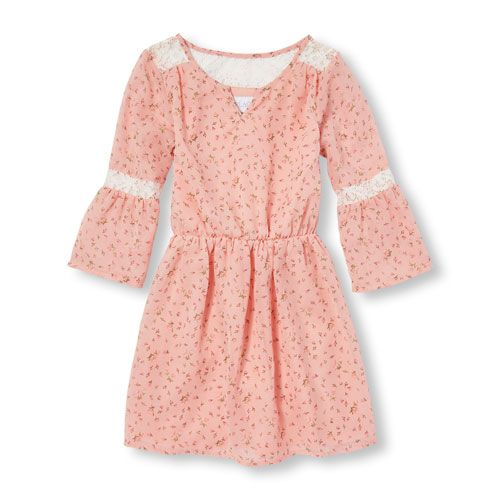 78ae919e066 Girls Long Bell Sleeve Ditsy Floral Print Woven Dress - Pink - The  Children s Place