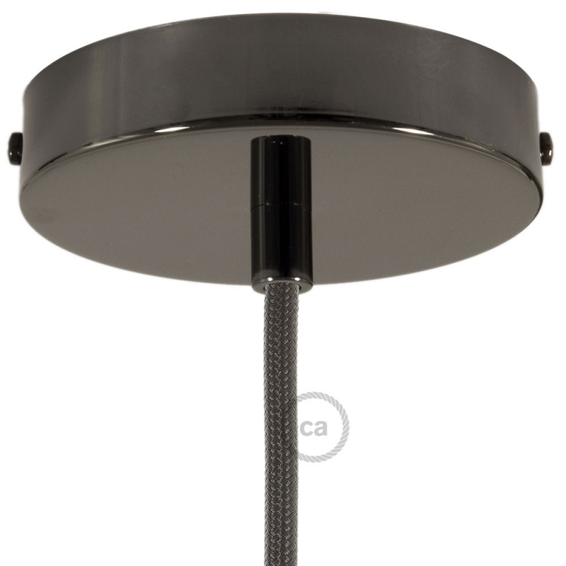 Black Pearl Round Ceiling Canopy Kit With Cylindrical Black Pearl