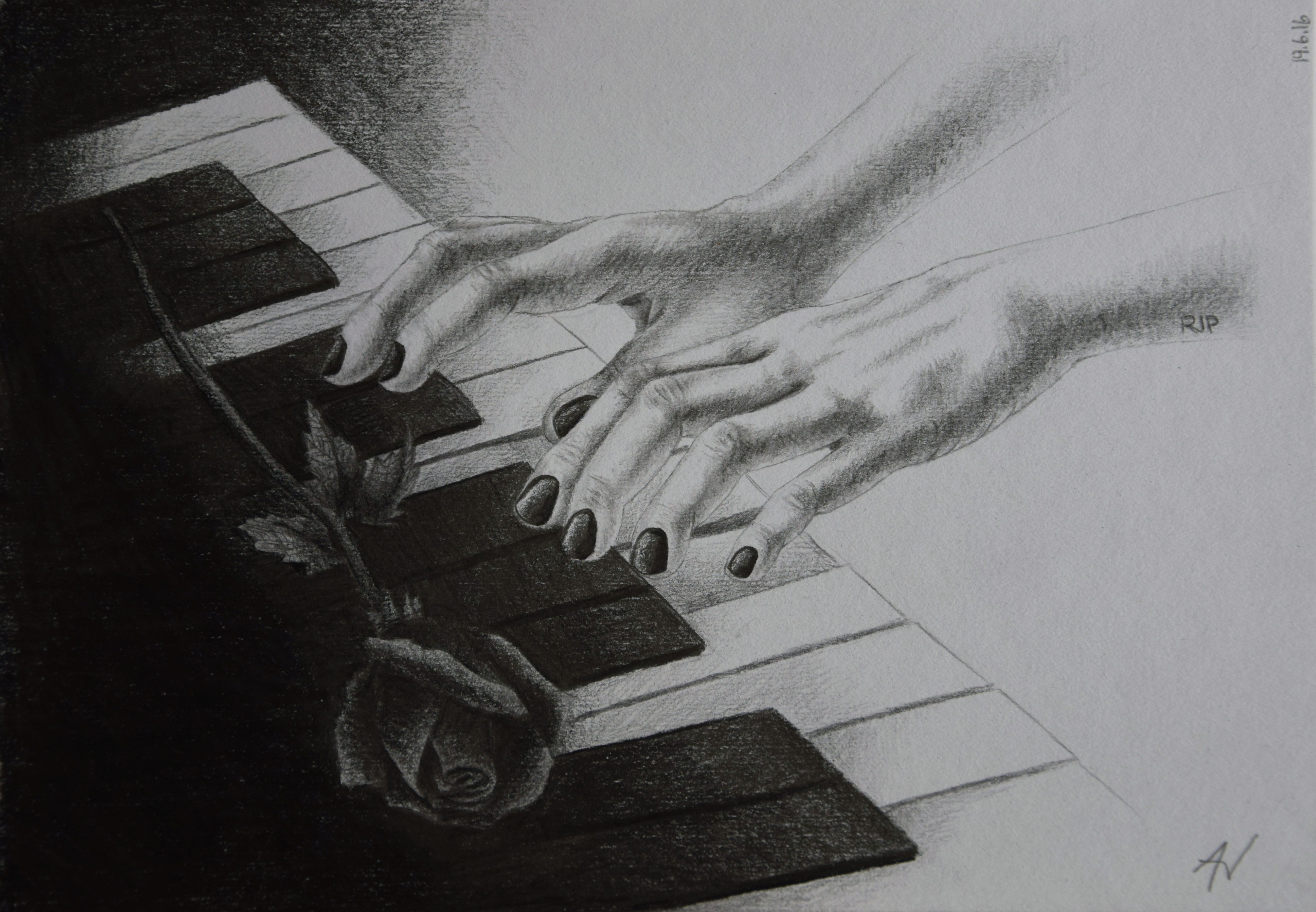 Pencil drawing of hands playing piano with dark rose on a funeral in memory of christina grimmie