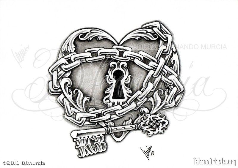 dessin tatouage coeur enchain ij6f1 art pinterest. Black Bedroom Furniture Sets. Home Design Ideas