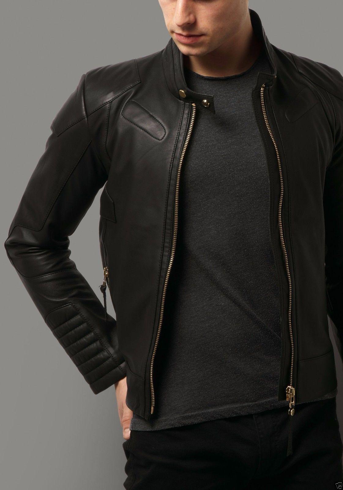 Slim Fit Biker Mens Black Leather Jacket Motorcycle Moto
