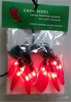 Red Chile Pepper Light Set: 10 Red Chili Lights